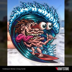 Crazy Surfer Sticker