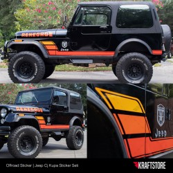 Jeep Cj - Kupa Sticker Seti