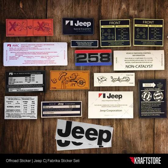 Jeep Cj - Fabrika Sticker Seti